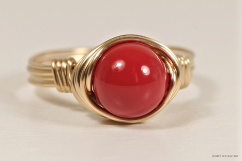 14K yellow gold filled wire wrapped red coral Swarovski pearl solitaire ring handmade by Jessica Luu Jewelry