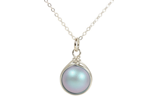 Sterling silver wire wrapped iridescent light blue Swarovski pearl pendant on chain necklace handmade by Jessica Luu Jewelry
