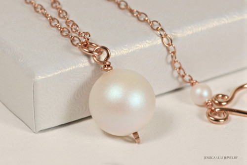 14K rose gold filled wire wrapped pearlescent white Swarovski pearl solitaire pendant on chain necklace handmade by Jessica Luu Jewelry