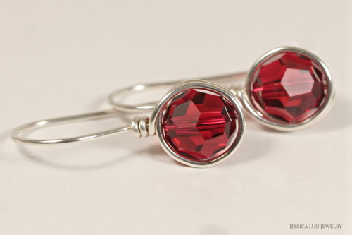 Sterling silver wire wrapped ruby red scarlet Swarovski crystal drop earrings handmade by Jessica Luu Jewelry