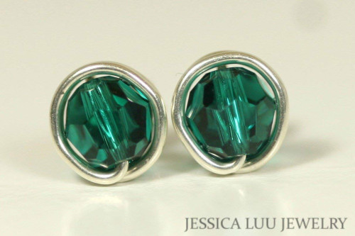 Sterling Silver Emerald Swarovski Crystal Stud Earrings - Available in 2 Sizes and Other Metal Options