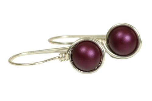 Sterling silver wire wrapped elderberry dark purple pearl drop earrings handmade by Jessica Luu Jewelry