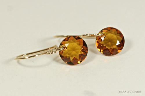14K yellow gold filled orange topaz Swarovski crystal dangle earrings handmade by Jessica Luu Jewelry