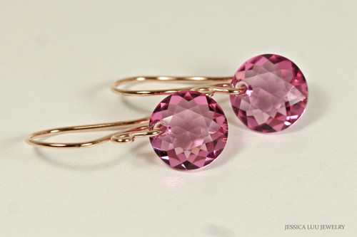 14K rose gold filled pink Swarovski crystal dangle earrings handmade by Jessica Luu Jewelry