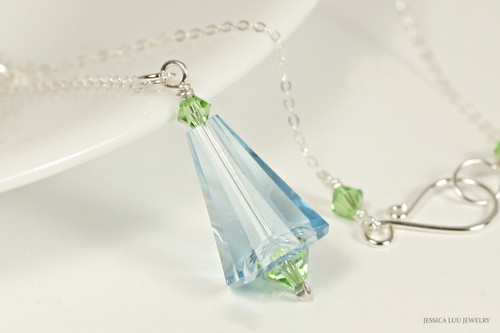 Sterling silver aquamarine peridot blue green crystal pendant on chain necklace handmade by Jessica Luu Jewelry