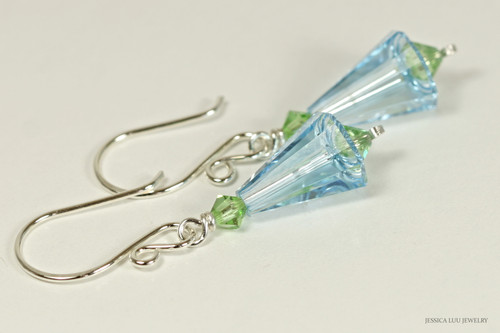 Sterling silver aquamarine and peridot blue green Swarovki crystal artemis dangle earrings handmade by Jessica Luu Jewelry