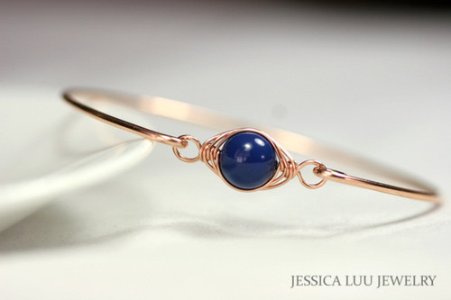 Rose Gold Lapis Blue Bangle Bracelet - More Metal Options Available