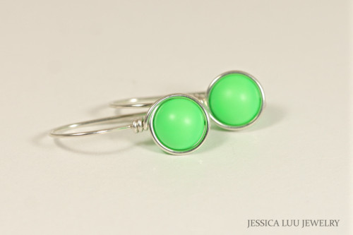 Sterling Silver Neon Green Earrings - Available with Matching Necklace and Other Metal Options