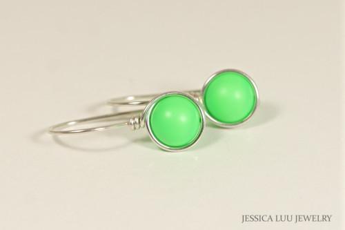 Sterling silver wire wrapped neon green pearl drop earrings handmade by Jessica Luu Jewelry
