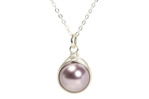 Sterling silver wire wrapped mauve purple pearl solitaire necklace handmade by Jessica Luu Jewelry