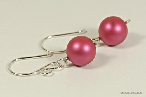 Sterling silver wire wrapped dark pink mulberry Swarovski pearl dangle earrings handmade by Jessica Luu Jewelry