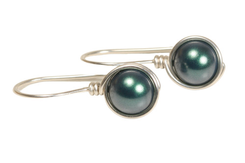 Sterling silver wire wrapped iridescent Tahitian pearl drop earrings handmade by Jessica Luu Jewelry