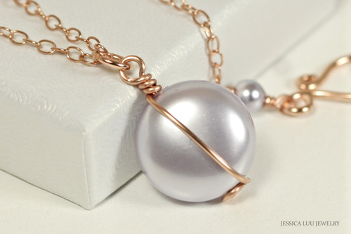 14K rose gold filled wire wrapped lavender Swarovski flat coin pearl solitaire pendant on chain necklace handmade by Jessica Luu Jewelry