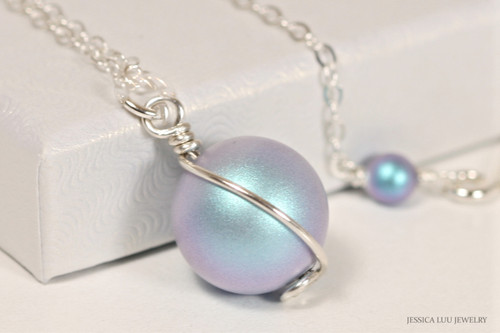 Sterling silver wire wrapped iridescent light blue Swarovski pearl solitaire pendant on chain necklace handmade by Jessica Luu Jewelry