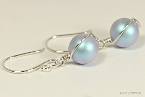 Sterling silver wire wrapped iridescent light blue Swarovski pearl dangle earrings handmade by Jessica Luu Jewelry