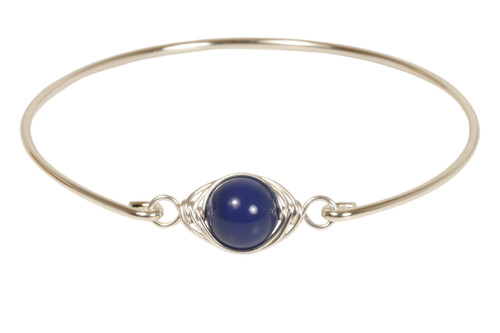 Sterling silver wire wrapped dark lapis blue Swarovski pearl bangle bracelet handmade by Jessica Luu Jewelry