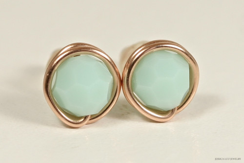 14K rose gold filled wire wrapped light green mint alabaster Swarovski crystal round stud earrings handmade by Jessica Luu Jewelry
