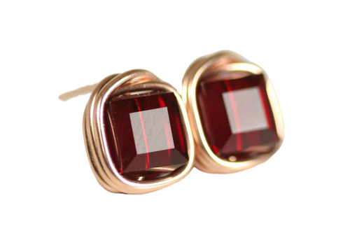 14K rose gold filled wire wrapped siam garnet red crystal cube stud earrings handmade by Jessica Luu Jewelry
