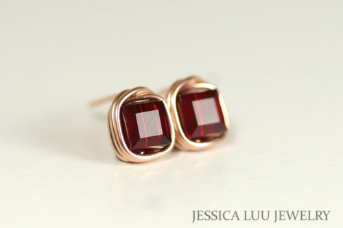 Rose Gold Garnet Red Swarovski Crystal Stud Earrings - Available with Matching Earrings and Other Metal Options