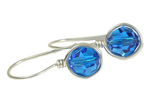 Sterling silver wire wrapped capri blue crystal drop earrings handmade by Jessica Luu Jewelry