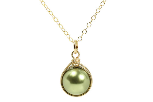 14K yellow gold filled wire wrapped olive green pearl solitaire pendant on chain necklace handmade by Jessica Luu Jewelry
