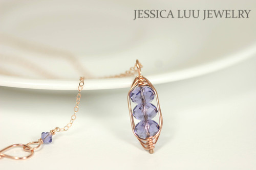 Rose Gold Tanzanite Swarovski Crystal Pendant Necklace - Available with Matching Earrings and Other Metal Options