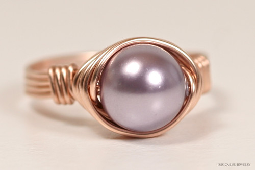 14K rose gold filled wire wrapped mauve purple Swarovski pearl solitaire ring handmade by Jessica Luu Jewelry