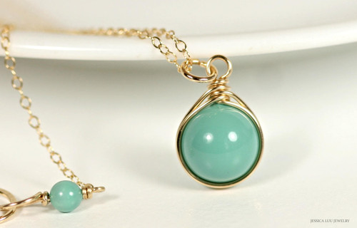 14K yellow gold filled wire wrapped jade blue green Swarovski pearl solitaire pendant on chain necklace handmade by Jessica Luu Jewelry