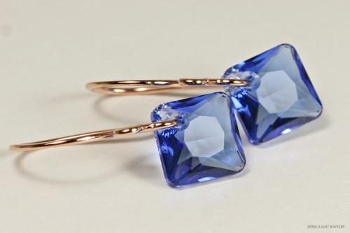 14K rose gold filled sapphire blue Swarovski crystal princess cut dangle earrings handmade by Jessica Luu Jewelry