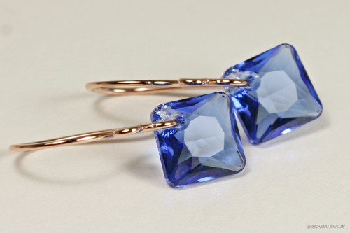 14K rose gold filled sapphire blue Swarovski crystal princess cut dangle earrings handmade by Jessica Luu Jewelry