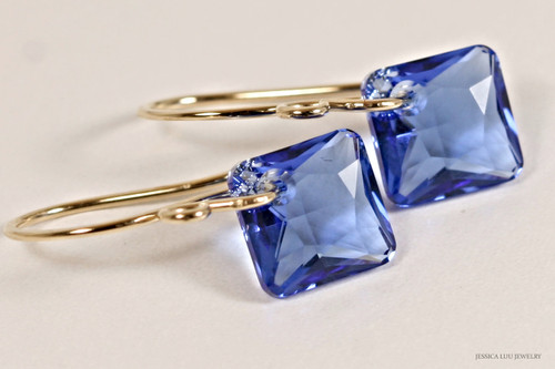 14K yellow gold filled sapphire blue Swarovski crystal princess cut dangle earrings handmade by Jessica Luu Jewelry