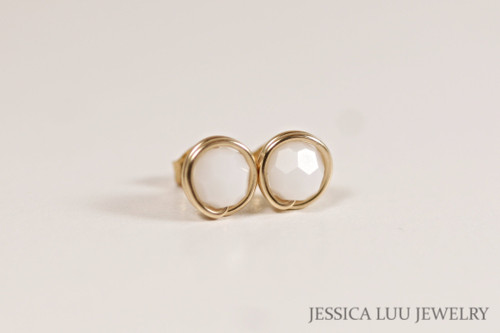 Gold White Alabaster Swarovski Crystal Stud Earrings - Available in 2 Sizes and Other Metal Options