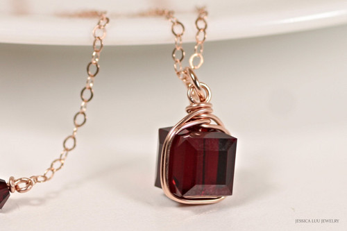 14K rose gold filled wire wrapped dark red garnet siam Swarovski crystal cube pendant on chain necklace handmade by Jessica Luu Jewelry