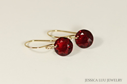 Gold Garnet Red Swarovski Crystal Dangle Earrings - Other Metal Options Available