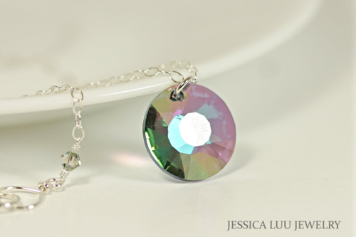 Sterling Silver Multicolored Crystal Necklace - Available with Matching Earrings and Other Metal Options
