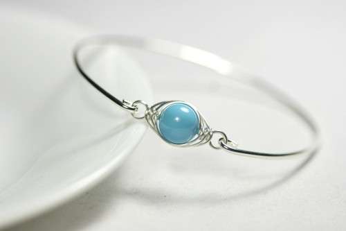 Sterling silver herringbone wire wrapped turquoise Swarovski pearl bangle bracelet
