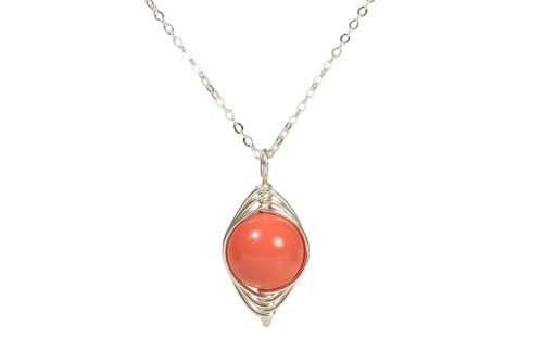 Sterling silver herringbone wire wrapped orange coral Swarovski pearl solitaire pendant on chain necklace handmade by Jessica Luu Jewelry