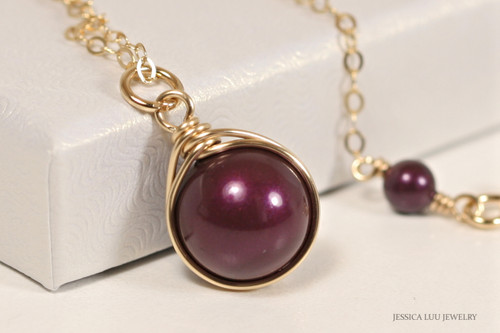 14K yellow gold filled wire wrapped blackberry purple Swarovski pearl solitaire pendant on chain necklace handmade by Jessica Luu Jewelry