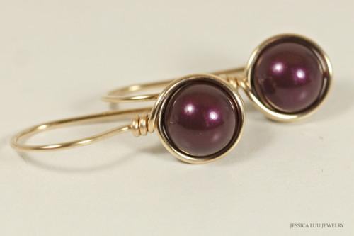 14K yellow gold filled wire wrapped blackberry purple Swarovski pearl drop earrings handmade by Jessica Luu Jewelry