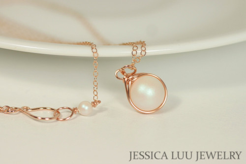 Rose Gold Shimmer White Pearl Necklace - Available with Matching Earrings and Other Metal Options