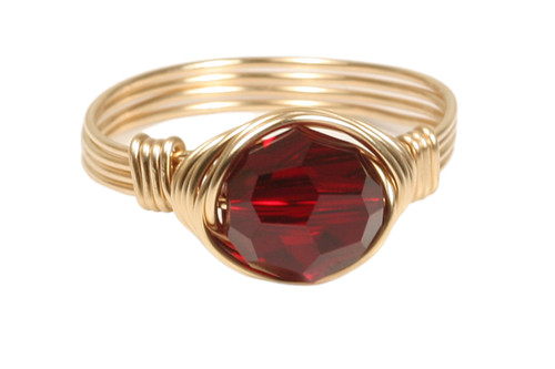 14K yellow gold filled wire wrapped garnet red siam Swarovski crystal solitaire ring handmade by Jessica Luu Jewelry