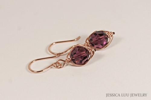 Rose Gold Amethyst Swarovski Crystal Dangle Earrings - Available with Matching Necklace and Other Metal Options