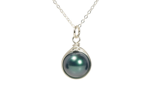 Sterling silver wire wrapped iridescent Tahitian Swarovski pearl pendant on chain necklace handmade by Jessica Luu Jewelry