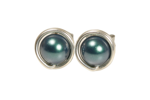 Sterling silver wire wrapped iridescent Tahitian pearl stud earrings handmade by Jessica Luu Jewelry