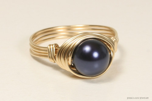 14K yellow gold filled wire wrapped night navy blue Swarovski pearl solitaire ring handmade by Jessica Luu Jewelry
