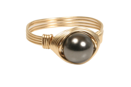 14K yellow gold filled wire wrapped black pearl solitaire ring handmade by Jessica Luu Jewelry