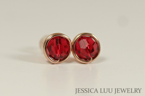 Rose Gold Ruby Red Swarovski Crystal Stud Earrings - Available in 2 Sizes and Other Metal Options
