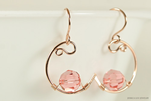 14K rose gold filled wire wrapped rose peach Swarovski crystal crescent dangle earrings handmade by Jessica Luu Jewelry