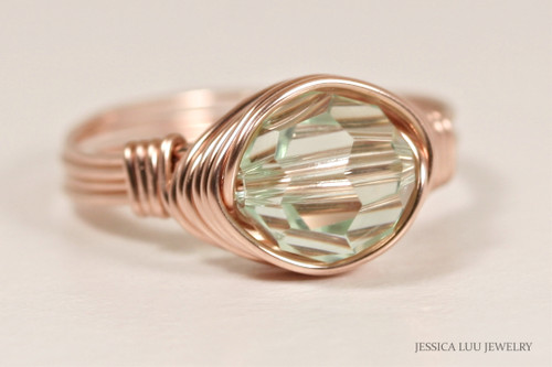 14K rose gold filled wire wrapped light green chrysolite Swarovski crystal solitaire ring handmade by Jessica Luu Jewelry