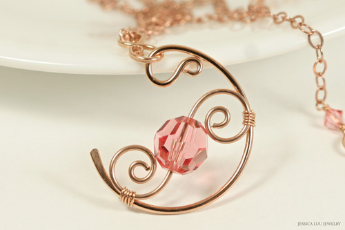 14k rose gold filled wire wrapped pendant on chain necklace with rose peach Swarovski crystal handmade  by Jessica Luu Jewelry